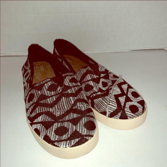 Toms black print canvas slip on shoes size 10